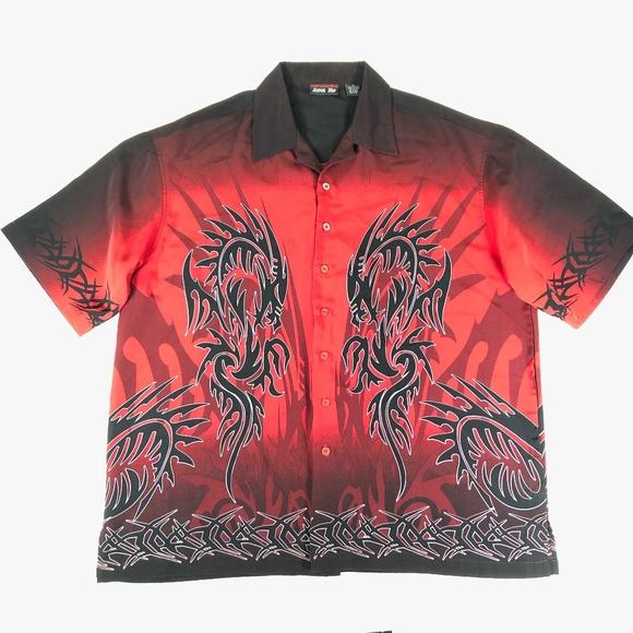 848fe3d3e Level Ten Shirts | Mens Xl Red Black Tribal Dragon Shirt | Poshmark